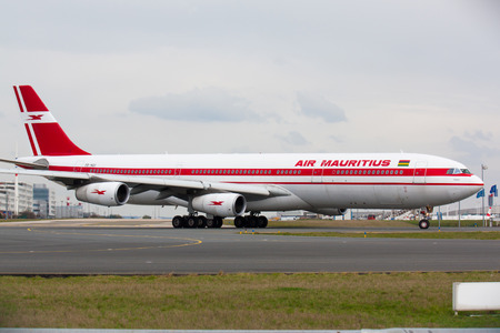 PARIS - MARCH 29: Air Mauritius Airbus A340 taxis to take off on March 29, 2010 in Paris, France. The company is the fourth largest carrier in Sub-Saharan Africa.