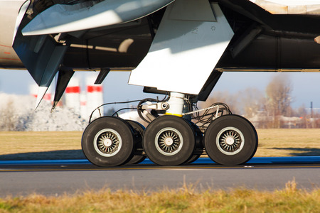 Landing gear with wheels of huge airplane