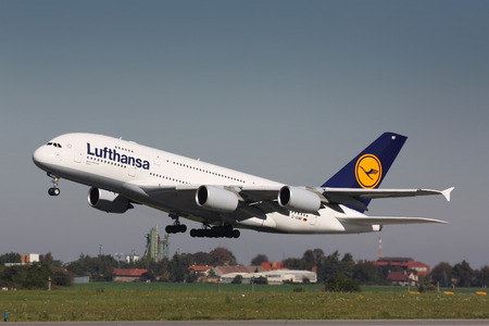 PRAGUE - OCTOBER 02: Lufthansa Airbus A380 airliner takes off on October 02, 2011 in Prague, Czech Republic. The A380 is currently the largest passenger airliner.