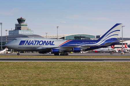 PRAGUE - APRIL 3: B747F of National Airlines taxi to take off PRG in Prague, Czech Republic on April 3, 2011. National Airlines is an American airline based in Orchard Park, New York.