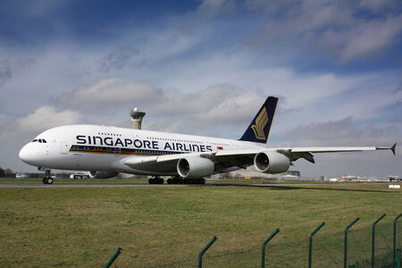 PARIS - MAY 29: Singapore Airlines Airbus A380 taxis to take off on May 29, 2010 in Paris, France. The A380 is currently the largest passenger airliner.