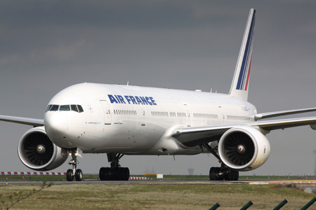 PARIS - MAY 29: Air France Boeing B777 taxis to take off on May 29, 2010 in Paris, France. Air France is rated top 10 biggest airlines in the world and top 3 biggest airlines in Europe