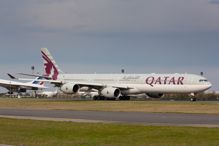 PARIS - MAY 29: Qatar Airways Airbus A340-500 taxis to take off on May 29, 2010 in Paris, France. Qatar Airways is rated 3rd best airlines in the world Qatar airline is flag carrier airline of Qatar