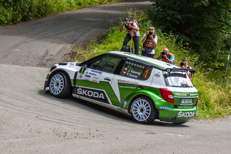 irc: MLADA BOLESLAV, CZECH REP. - JULY 13 : Winners of Rally Bohemia Driver Kopecky J. and co driver Dresler P. in Skoda Fabia S2000 at speed stage no. 7 July 13, 2013 in Mlada Boleslav, Czech Republic.
