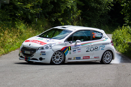irc: MLADA BOLESLAV, CZECH REP. - JULY 13 : Driver Cerny J. and co driver Kohout P. in Peugeot 208 R2 at speed stage no. 7 during Bohemia Rally July 13, 2013 in Mlada Boleslav, Czech Republic.