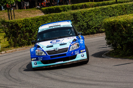irc: MLADA BOLESLAV, CZECH REP. - JULY 13 : Driver Odlozilik R. and co driver Turecek M. in Skoda Fabia S2000 at speed stage no. 18 during Bohemia Rally July 13, 2013 in Mlada Boleslav, Czech Republic.