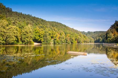 Nice reflection in water of lake Harasov in Czech republic Standard-Bild