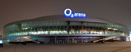 PRAGUE, CZECH REPUBLIC - NOVEMBER 25: Night shot of O2 arena in Prague on November 25, 2011. The O2 arena is one of the leading facilities in Europe with a seating capacity of up to 18,000.
