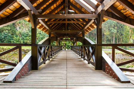 New wood bridge with nice architecture in Czech republic photo