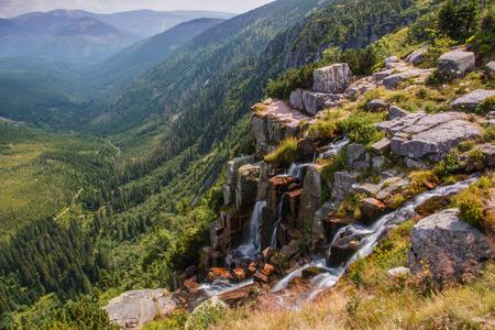 Pancavsky 滝はチェコ共和国で最大の滝 写真素材