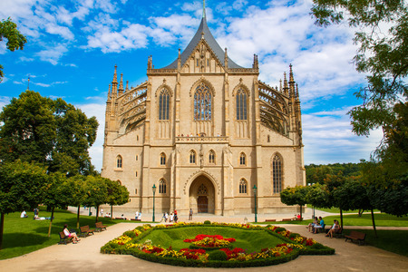 Cathedral of St. Barbora in city Kutna Hora in Czech republic photo