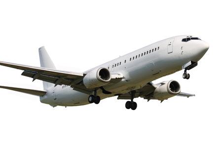 White clean plane landing on white background Foto de archivo
