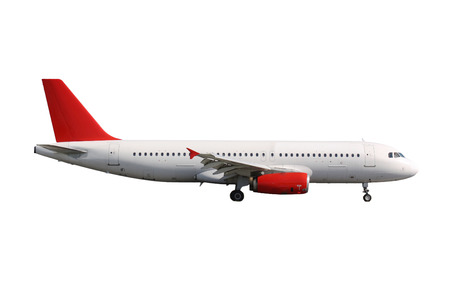 White plane with red tail on white background Stock Photo