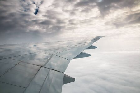 turbulence: View on wing from airplane during take off and turbulence