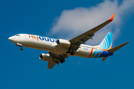 PRAGUE, CZECH REPUBLIC - APRIL 10: Flydubai Boeing 737-800 landing to PRG Airport on May 10, 2015. Flydubai is a low-cost airline.
