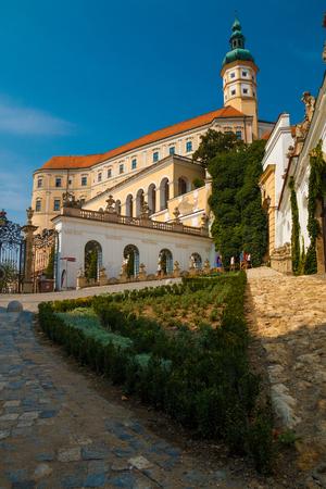 morava: Castle in blue sky in city Mikulov in the Czech Republic Editorial