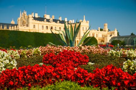 morava: LEDNICE,CZECH REPUBLIC - AUGUST 13,2015: Castle Lednice with garden park on August 13,2015 in Lednice in Czech Republic. Lednice-Valtice Cultural Landscape is registered in the Unesco World Heritage list.