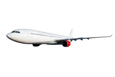 Huge white plane with red engines on white background