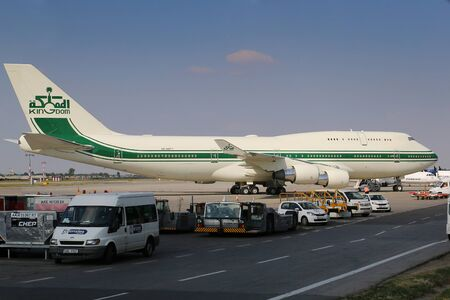 747 400: PRAGUE, CZECH REPUBLIC - AUGUST 03: Kingdom Holding Boeing 747-400 waiting for departure from PRG Airport on August 03, 2015. The Kingdom Holding Company is a Saudi conglomerate holding company based in Riyadh.