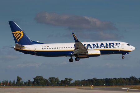 PRAGUE, CZECH REPUBLIC - AUGUST 30: Ryanair Boeing B737-800 lands at PRG airport on August 30, 2016 in Prague, Czech republic. Ryanair is an Irish low-cost airline