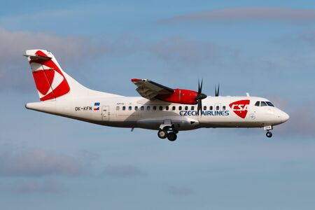 PRAGUE - AUGUST 30:  ATR42 CSA registration OK-KFN arrive to PRG airport in Prague, Czech Republic on August 30, 2015. Czech airlines was founded in 1923