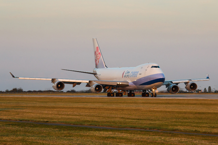 PRAGUE - SEPTEMBER 11: China Airlines Cargo Boeing B747 airliner take off from PRG on September 11, 2016 in Prague,Czech Republic. It Is the flag carrier of the Republic of China - commonly known as Taiwan