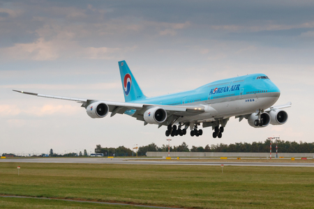 PRAGUE - SEPTEMBER 30: Korean Air Boeing B747-8i land to to PRG on September 30, 2016 in Prague,Czech Republic. Korean Air is the flag carrier of South Korea.