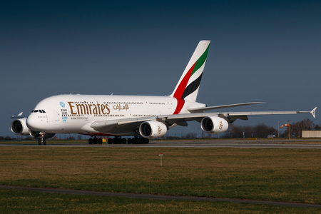 PRAGUE, CZECH REPUBLIC - MARCH 31: Airbus A380 of Emirates taxi for take off from PRG Airport in Prague on March 31, 2017. Emirates is an airline based in Dubai.