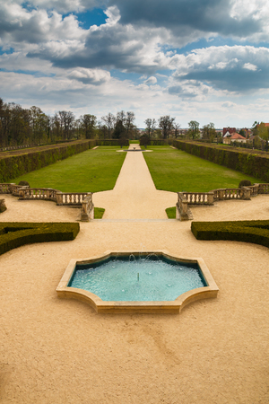 moravia: View to the garden of chateau Milotice Editorial