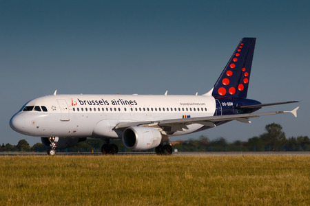 PRAGUE, CZECH REPUBLIC - JUNE 16: Brussels Airlines Airbus A319 take off at PRG Airport on June 16, 2017. Brussels Airlines is the flag carrier airline of Belgium.