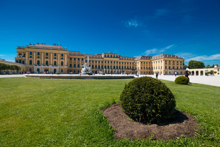 schonbrunn palace: Vienna, Austria - 29 May, 2017: Schonbrunn Palace with gardens in Vienna, 29. May,2017. The former imperial summer residence is a UNESCO World Heritage site. Editorial