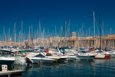 MARSEILLE - MAY 27 : Old port of Marseille called Vieux Port with a lot of boats, in Marseille, France, on May 27, 2017.