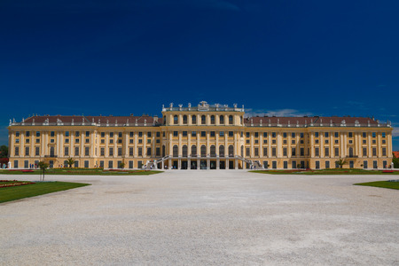 Vienna, Austria - 29 May, 2017: Schonbrunn Palace with gardens in Vienna, 29. May,2017. The former imperial summer residence is a UNESCO World Heritage site. Editorial