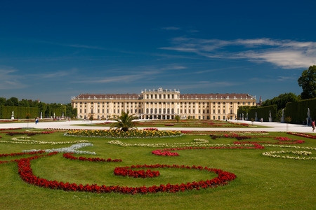 schoenbrunn: Vienna, Austria - 29 May, 2017: Schonbrunn Palace with gardens in Vienna, 29. May,2017. The former imperial summer residence is a UNESCO World Heritage site. Editorial