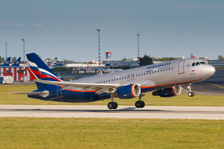 PRAGUE, CZECH REPUBLIC -July 29: Airbus A320 of Aeroflot take off from PRG Airport in Prague on July 29, 2017.Aeroflot is Russian flag carrier airline, is owned by the Russian government. Editorial