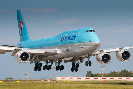 PRAGUE, CZECH REPUBLIC - JULY 29: Boeing 747-8i of Korean Air land at PRG Airport in Prague on July 29, 2017. Blue top livery was introduced on in 1984. Airlines are flag carrier of South Korea Editorial