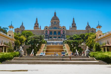 montjuic: BARCELONA, SPAIN - AUGUST 10, 2017: National museum situated on Montjuic hill near Placa De Espanya, Barcelona