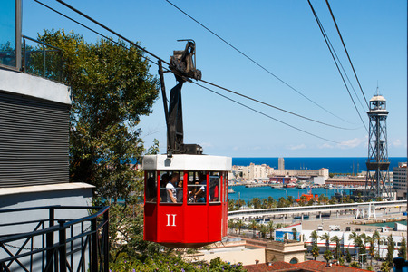 montjuic: BARCELONA, SPAIN - AUGUST 10:  Cableway called Teleferico connect hill Montjuic with harbour in Barcelona, Spain.