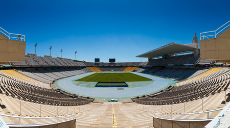 Barcelona, Catalonia, Spain - August 10, 2017: Interior view of the Olympic Stadium Lluis Companys in park Montjuic. The stadium was renovated in 1989 for the 1992 Summer Olympics.