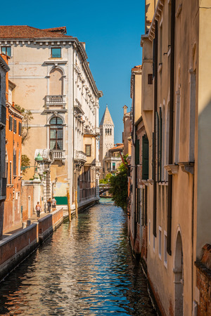 Traditional secret Venetian narrow canals without crowds.