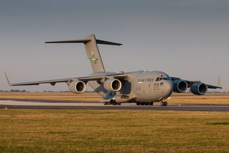 PRAGUE - SEPTEMBER 13: U.S. Air Force C-17 Globmaster stand at PRG Airport on September 13, 2018 in Prague, Czech Republic. Boeing C-17 Globemaster III is a large military transport aircraft. Editorial