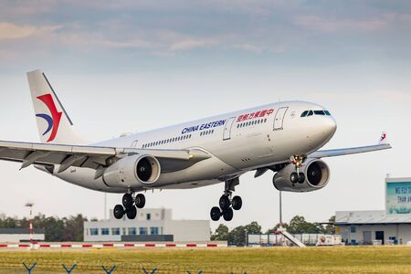 PRAGUE, CZECH REPUBLIC - JULY 21: Airbus A330-200 of China Eastern Airlines landing in PRG Airport in Prague on July 21, 2019. It is a major Chinese airline operating international, domestic and regional routes.