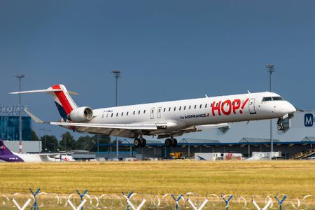 PRAGUE, CZECH REPUBLIC - JULY 21: Bombardier CRJ 1000 of HOP! arrival to PRG Airport in Prague on July 21, 2019. HOP! is the brand name of the regional flights operated by subsidiaries of Air France.