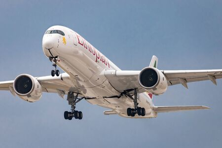 PRAGUE, CZECH REPUBLIC - JULY 28: Airbus A350 of Ethiopian take off from PRG Airport in Prague on July 28, 2019. Ethiopian Airlines is Ethiopia's flag carrier
