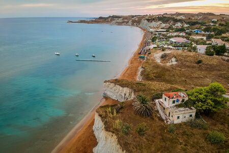 Aerial view on the famous Xi Beach in Kefalonia island