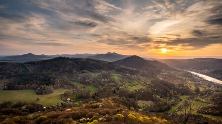 Sunset in nature of Central Bohemian Uplands