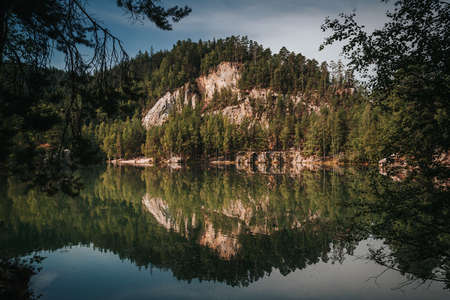 Lake in rock city called Adrspach National park