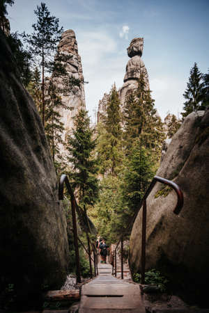 Tourist track in Adršpach-Teplice Rocks which are an unusual set of sandstone formations