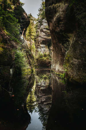 Mirroring of sandstone in Adršpach-Teplice Rocks which are an unusual set of sandstone formations