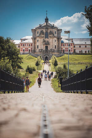Kuks, Czech Republic - August 08, 2020: State hospital Kuks was founded in 18th century. Beautiful baroque hospital is public tourist attraction in Kuks, Czech republic.